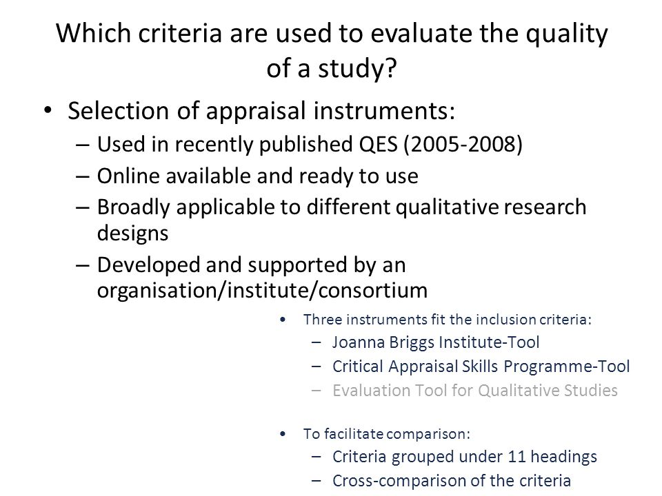 criteria for evaluating papers using qualitative research methods Volume 6, no 2, art 34 – may 2005 the quality in qualitative methods 1) manfred max bergman & anthony pm coxon abstract: quality concerns play a central role throughout all steps of the research process in qualitative methods, from the inception of a research question and data collection, to the analysis and interpretation of research.