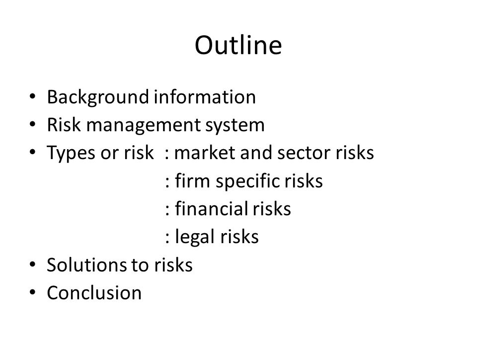 Report on a risk management system