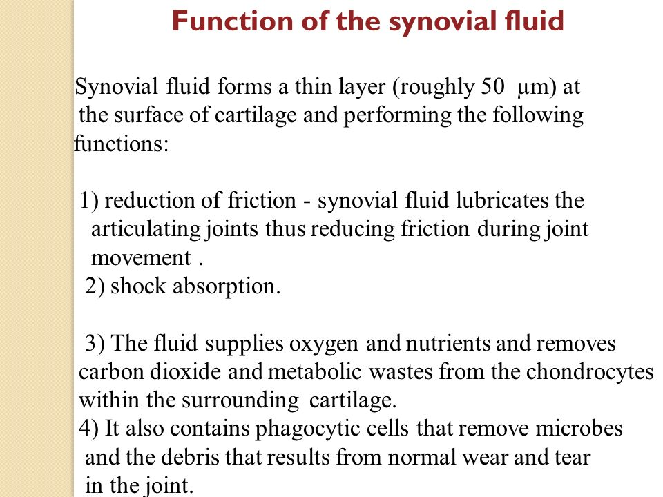 synovial fluid and friction Our bodies use synovial fluid to reduce friction, and machines use lubricating  fluids for the same purpose astronauts have some special.