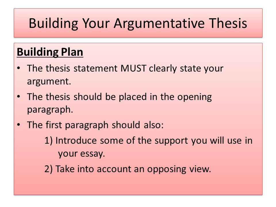 thesis builder for argumentative A trimester, one-semester, or yearlong course for grades 8-12 the argument builder (student edition) is the ideal follow-up companion to the art of argumentwhere the art of argument enables students to find and identify fallacies in various kinds of writing and speech, the argument builder will teach students to actually build compelling and.