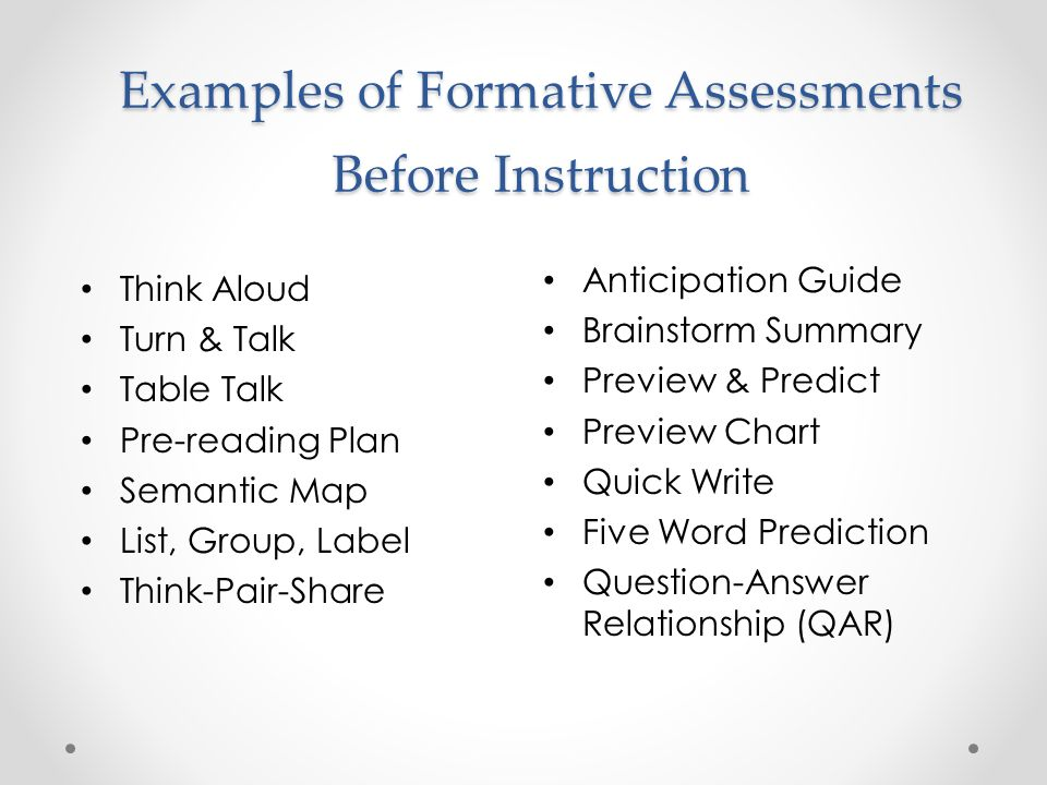 8 Examples Of Formative Assessments Before Instruction