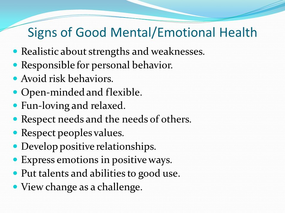Signs of Good Mental/Emotional Health