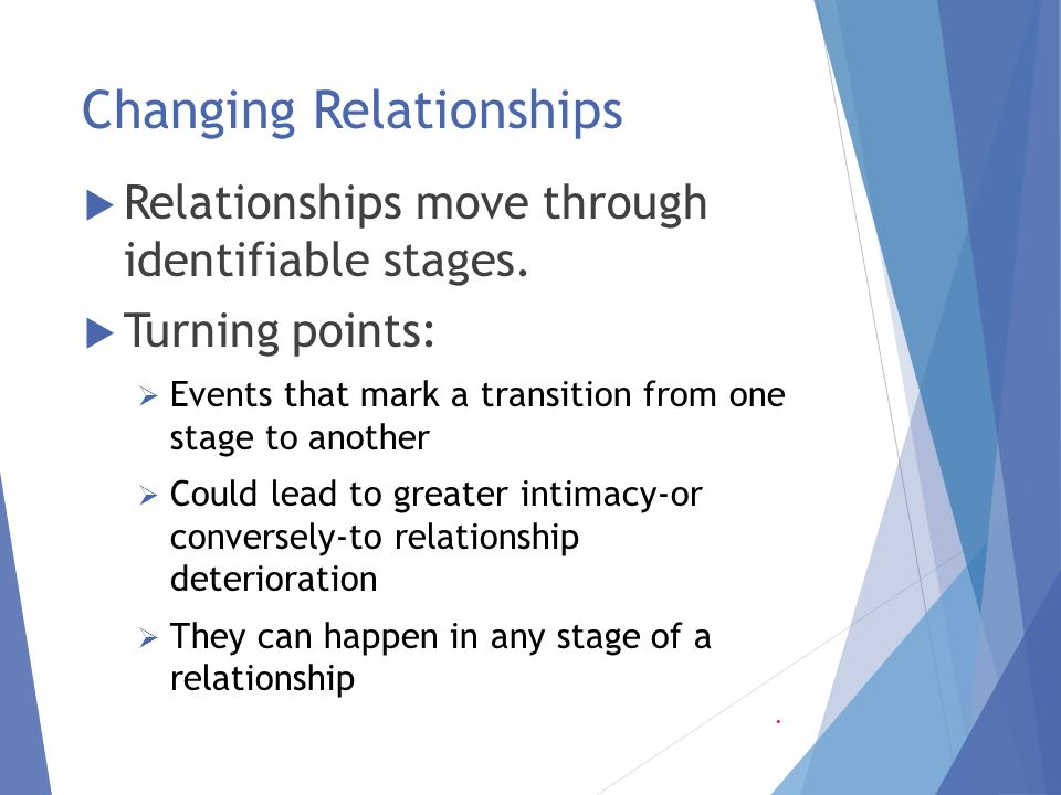 stages in development and deterioration of a relationship