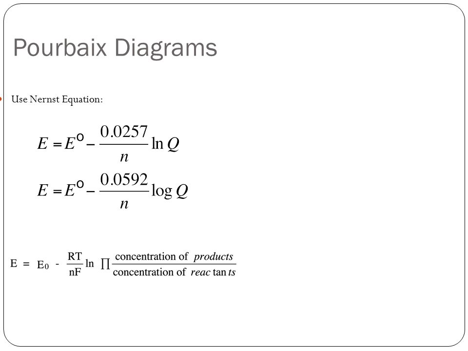 Electrochemistry mae ppt video online download 10 pourbaix diagrams use nernst equation ccuart Gallery