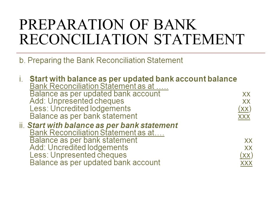 how to prepare a bank reconciliation Bank reconciliation overview a bank reconciliation is the process of matching the balances in an entity's accounting records for a cash account to the corresponding information on a bank statement.