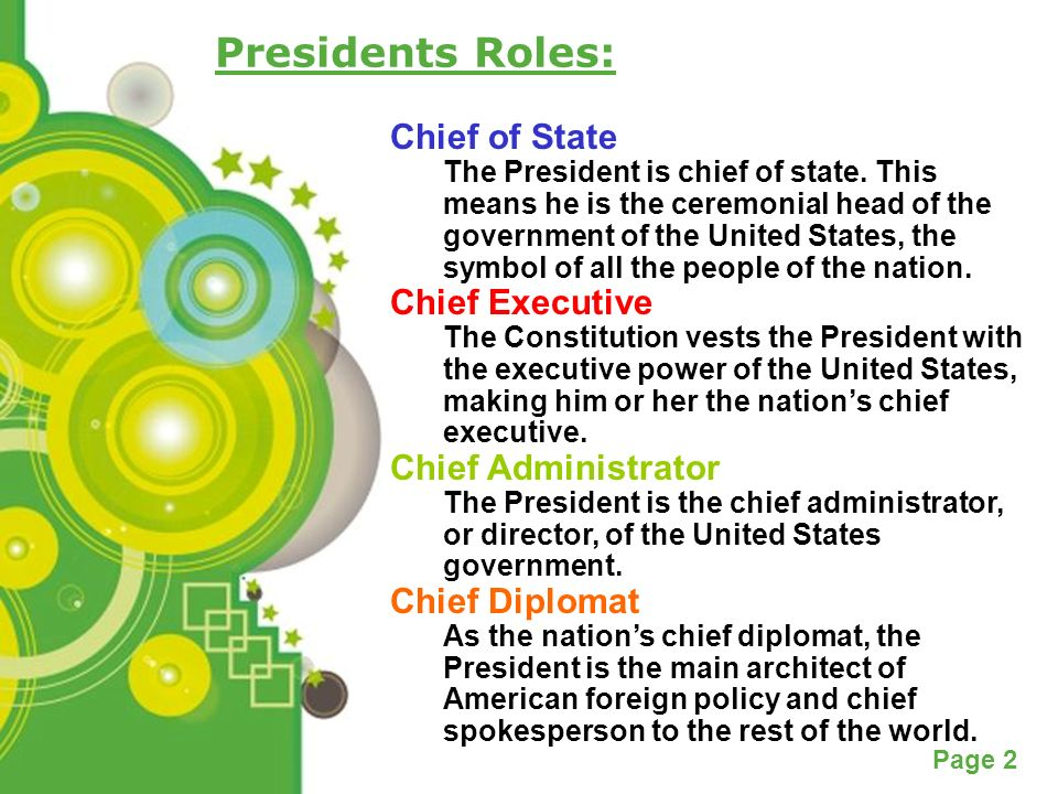 the role of a president as the chief of state in the united states The president is not our 'commander-in-chief  politicians should stop referring to the president of the united states  another factor that impacts the role.