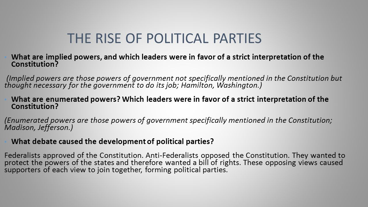 worksheet The Development Of Political Parties Worksheet chapter 1 creating a nation lesson 2 ppt video online download 9 the rise of political parties