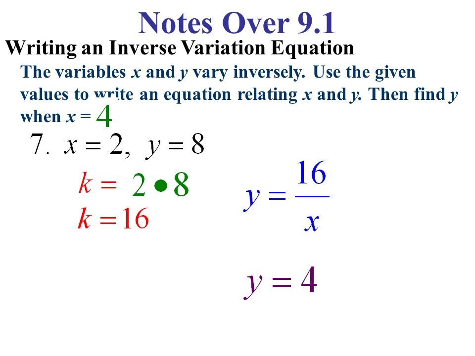 how to write a direct variation equation given x and y