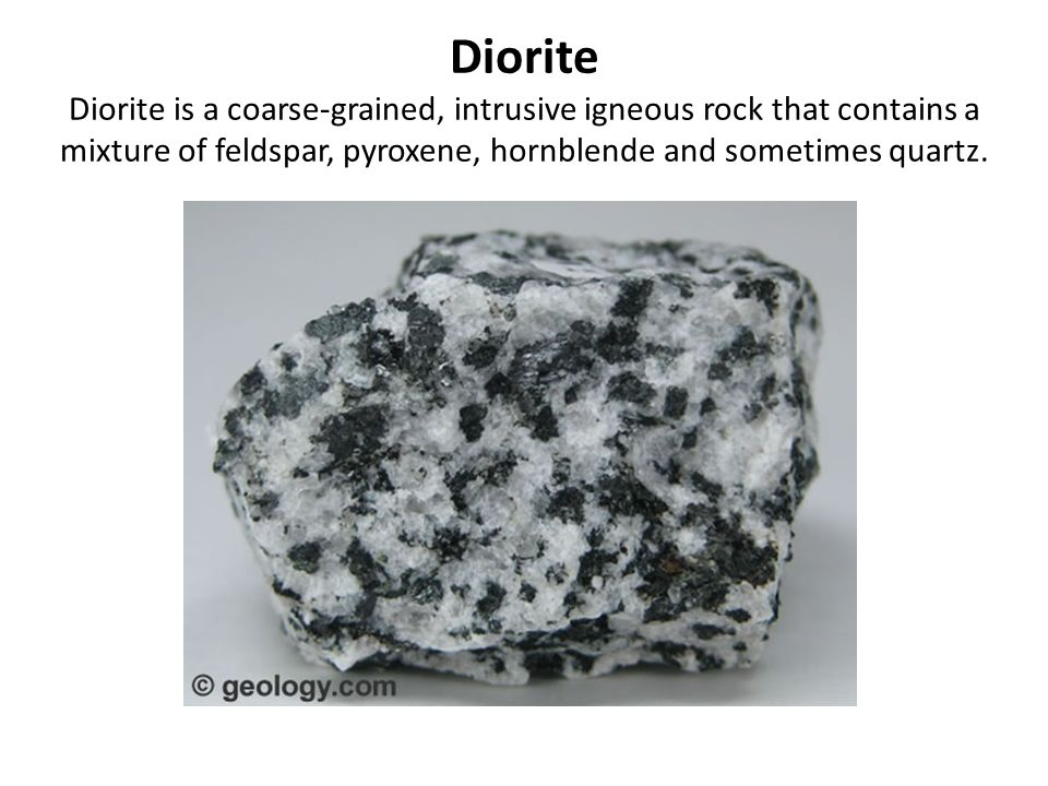 igneous rocks diorite essay Crystals form in intrusive rocks because they cool slowly igneous rocks can be felsic, intermediate, mafic, and which is felsic, is granite intermediate rocks are low in silica and are usually darker than felsic rocks, and diorite is an get a custom essay sample written.