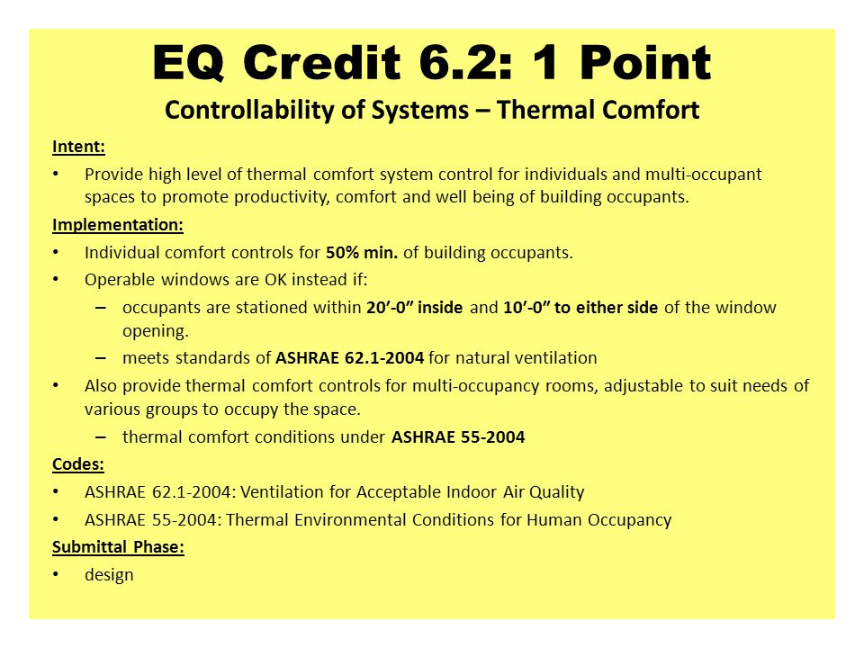 Leed nc indoor environmental quality intent slide editor for Indoor design temperature ashrae