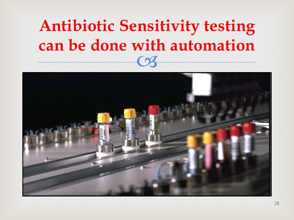 antibiotic sensitivity lab Annually, texas vet lab processes thousands of samples for virus and bacteria isolation complete knowledge and preparation to manage these results is best conducted with antibiotic sensitivities from the same sample.