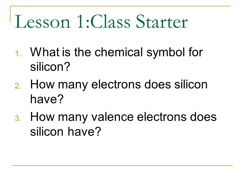 Lesson 1class Starter What Is The Chemical Symbol For Silicon