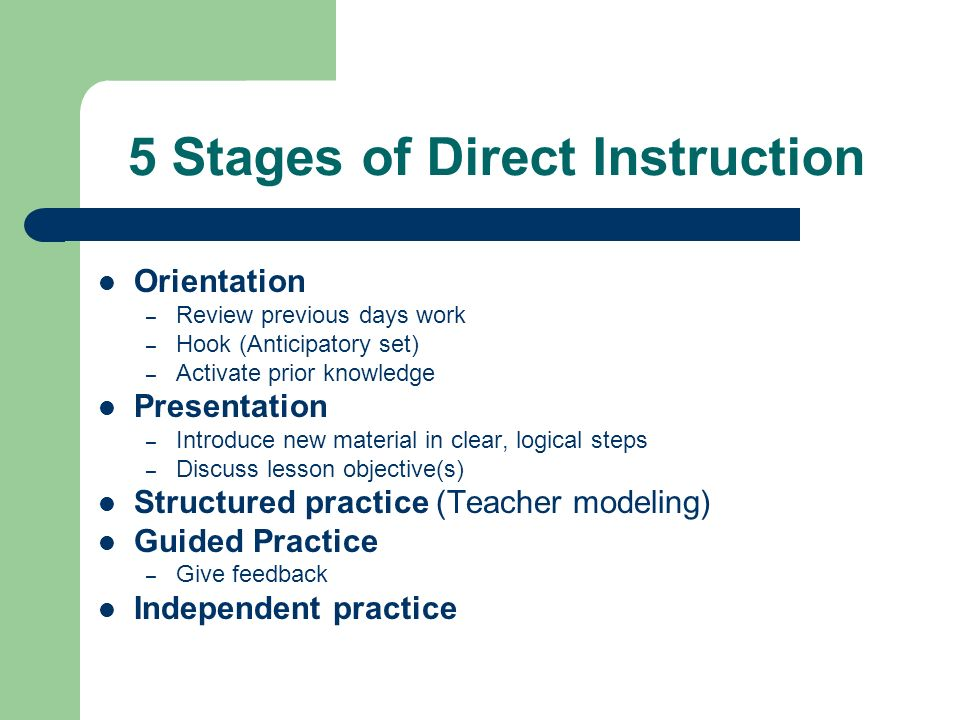 direct instruction model essay Direct instruction model quick guide  direct instruction serves as a tool for teachers to provide a variety of information that is needed about a subject and then.