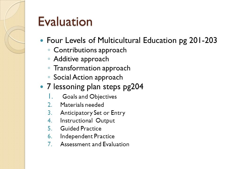 multicultural education assessment plan Assessing your multicultural education program  of the multicultural education plan how involved are community members in the assessment of the multicultural plan.