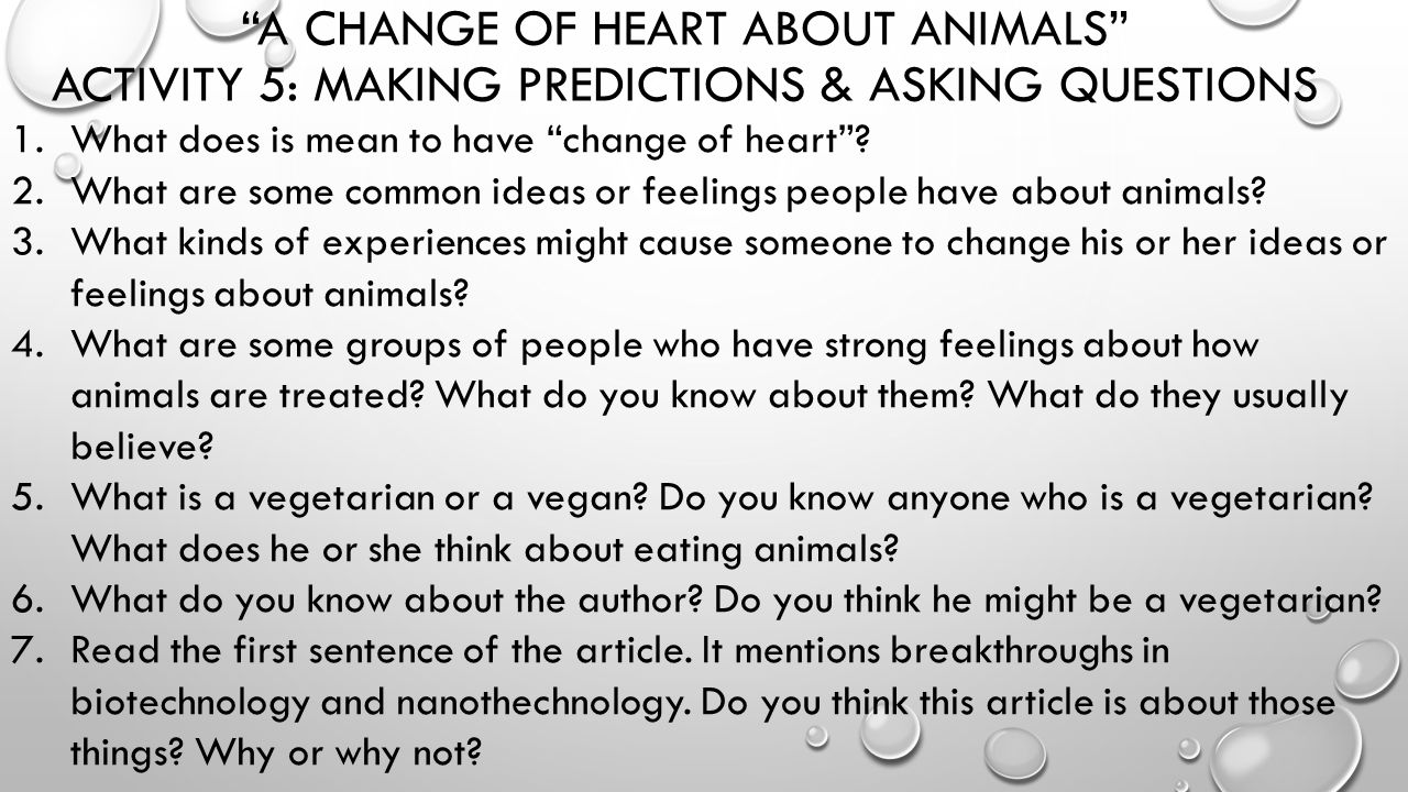 a change of heart about animals Animals, men and morals is a manifesto for an animal liberation movement  it  is a demand for a complete change in our attitudes to nonhumans  it is the use  of other species for food that is at the heart of our attitudes.