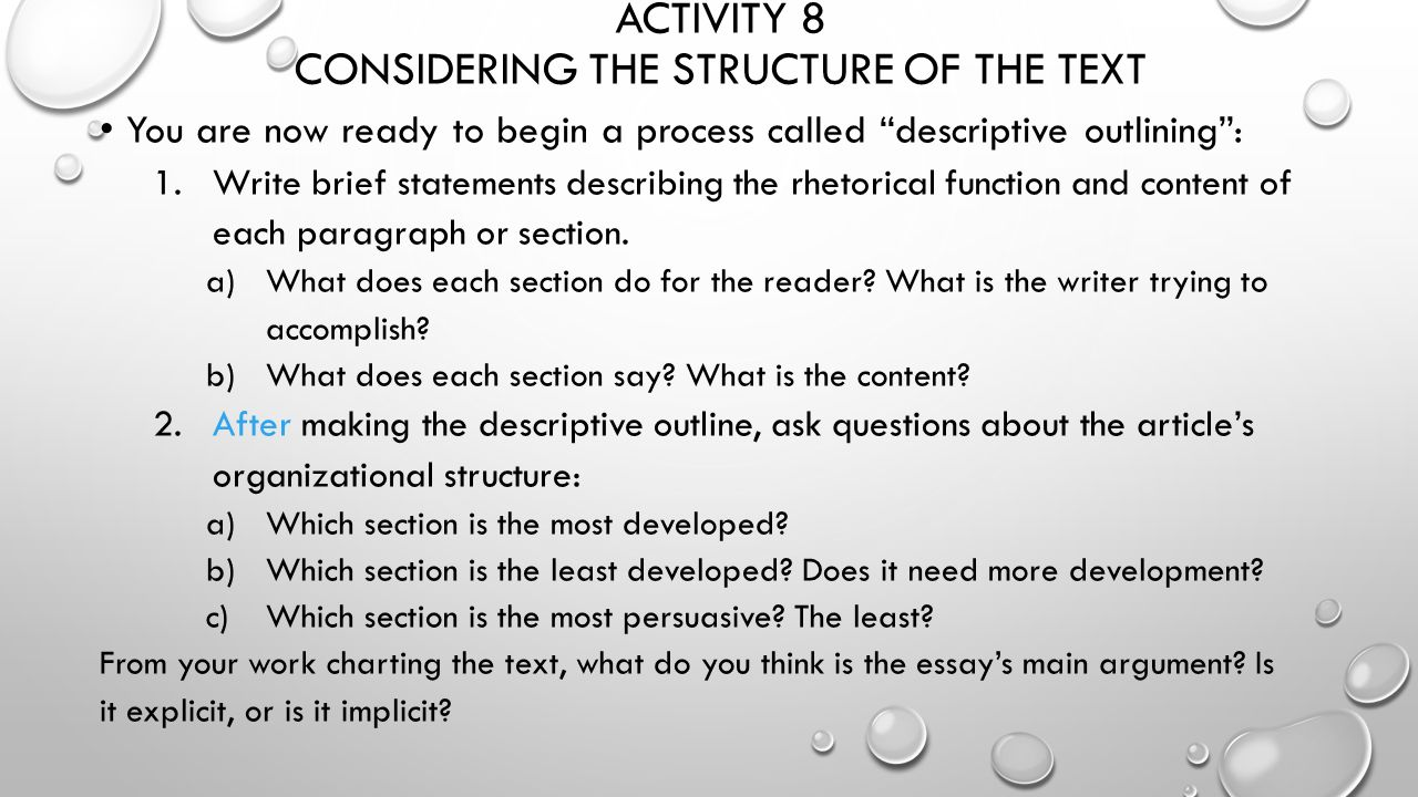 functions of descriptive essay Structure of a general expository essay use this outline to guide you as you compose your own argument, research or even descriptive essay opening sentence.