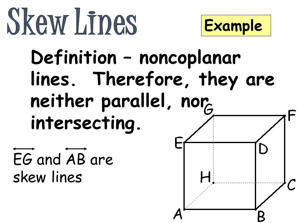 intersecting lines � coplanar lines that share one common