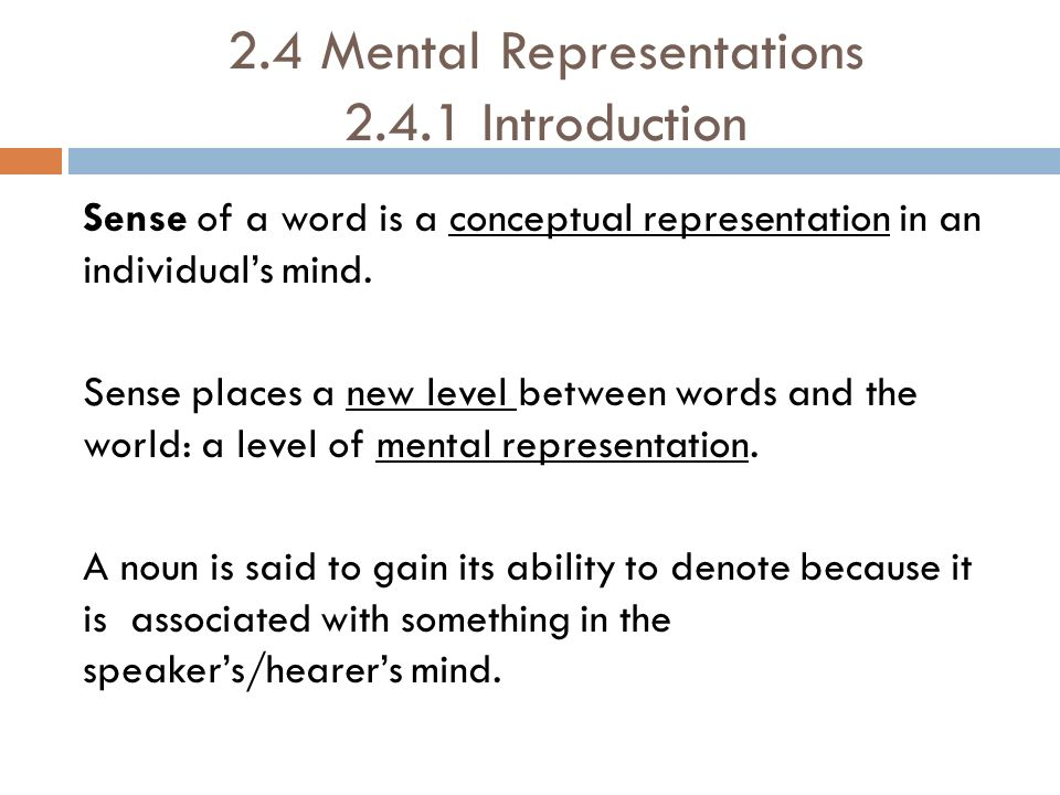 2.4 Mental Representations 2.4.1 Introduction