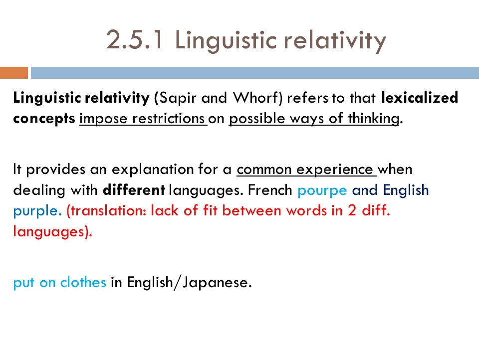 Linguistic relativity thesis