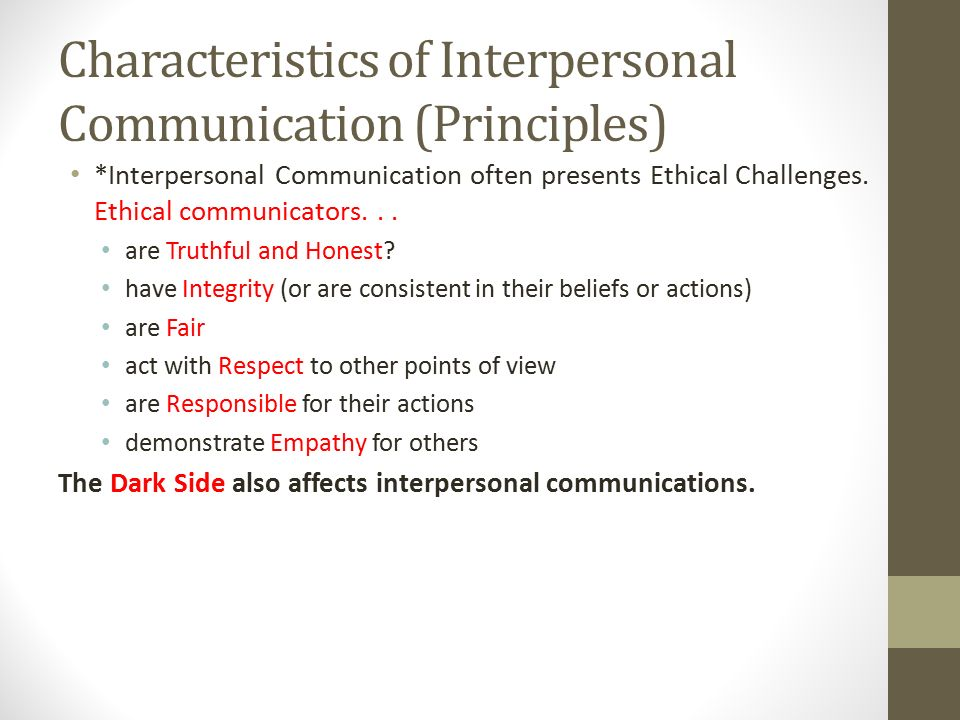 the principles of interpersonal communication essay Axioms of relationship management: applying interpersonal communication  principles to the public relations context journal of promotion.