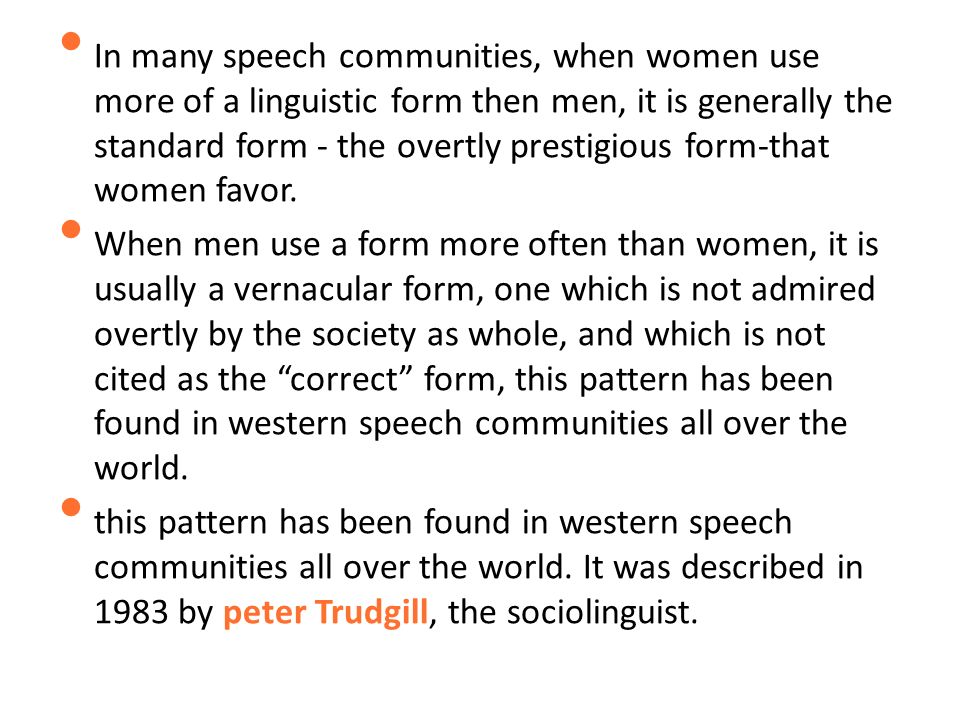 gender speech communities Written by leading gender communication scholar julia t wood, gendered lives orientation social society speech communities stereotypes suppressed content.