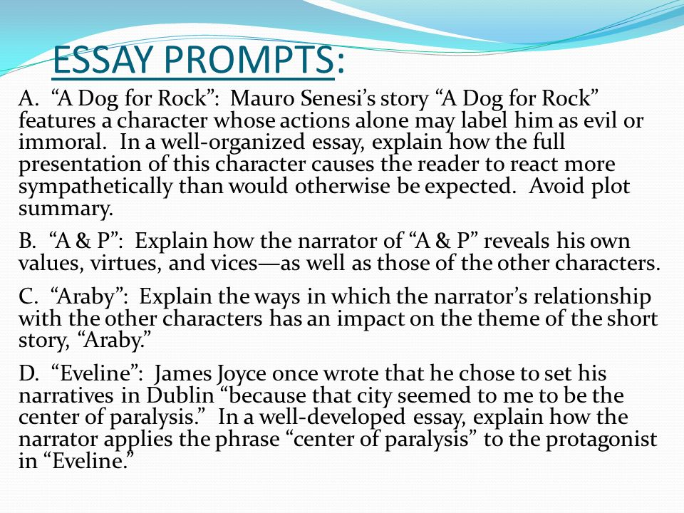 Example of essay over theme in a short story