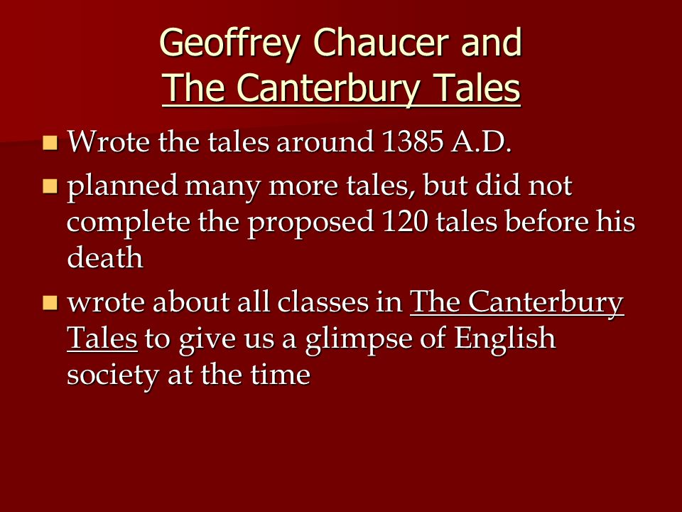 the importance of class hierarchy in chaucers the millers tale Summary one spring day, the narrator of the canterbury tales rents a room at the tabard inn before he recommences his journey to canterbury that even.