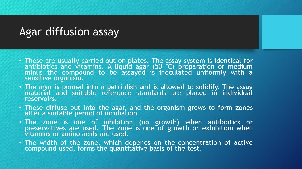 Agar diffusion assay