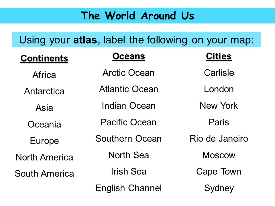 World map answers continents oceans oceans 1 africa 8 arctic ocean using your atlas label the following on your map gumiabroncs Image collections