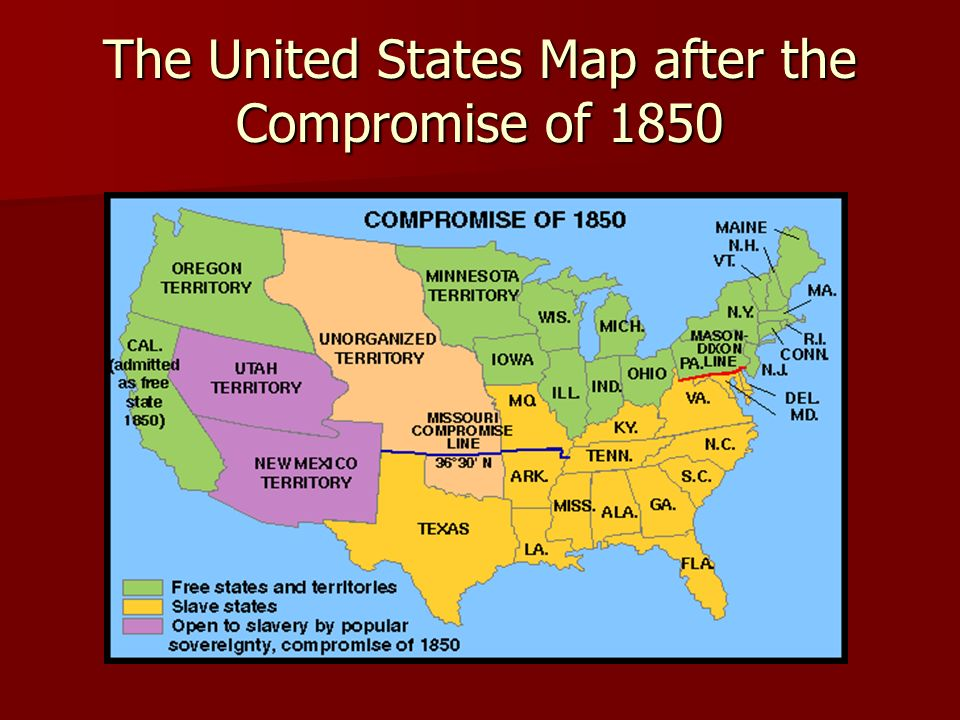 Map Of Us Free And Slave States - Compromise of 1850 map