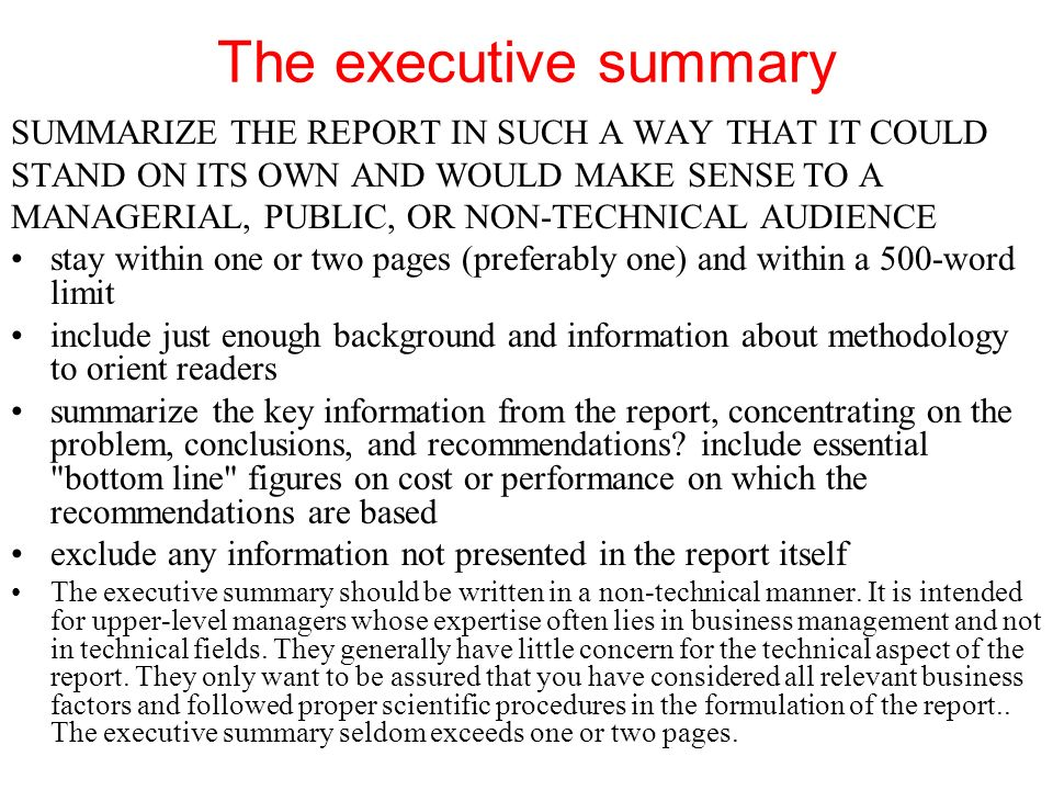 chapter thirteen reports ppt video online the executive summary summarize the report in such a way that it could