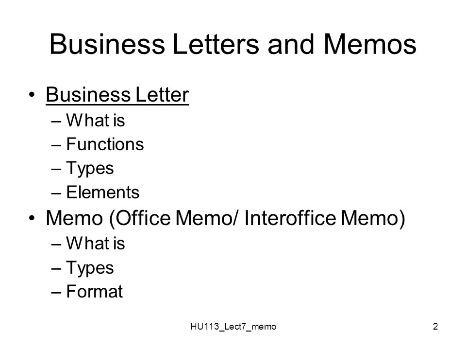 Business Letters And Memos
