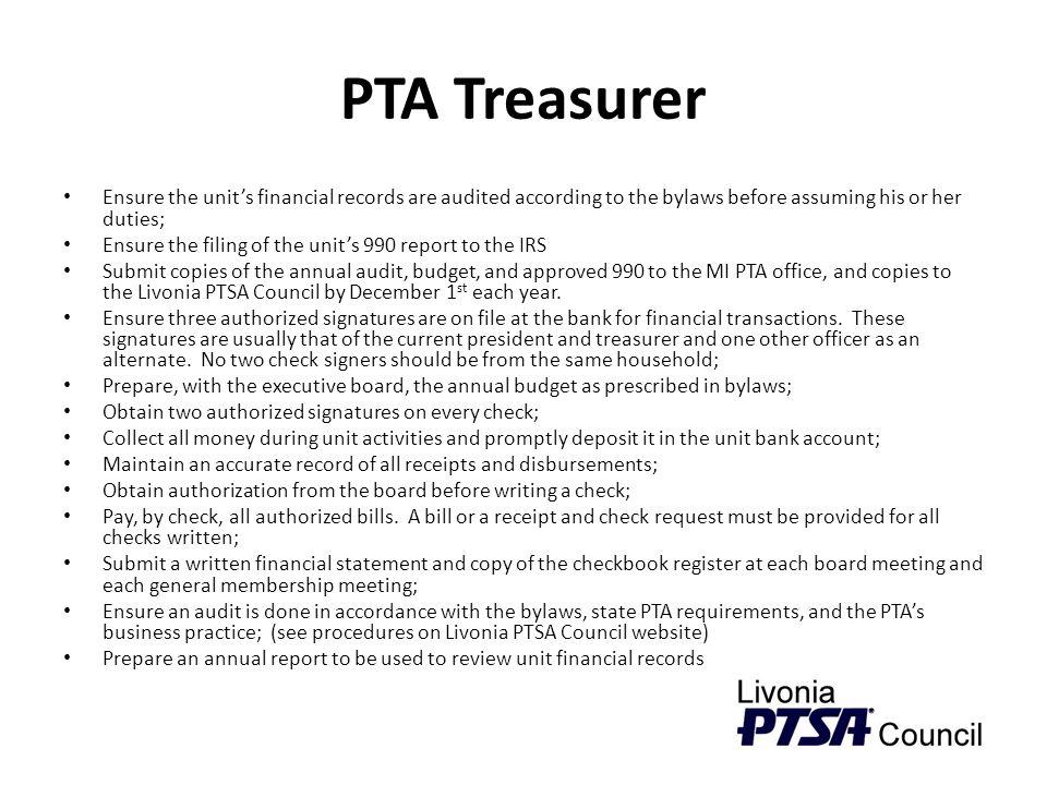 pta treasurer ensure the unit�s financial records are