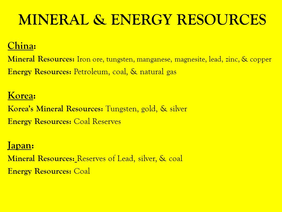 Write an essay about mineral and energy resources