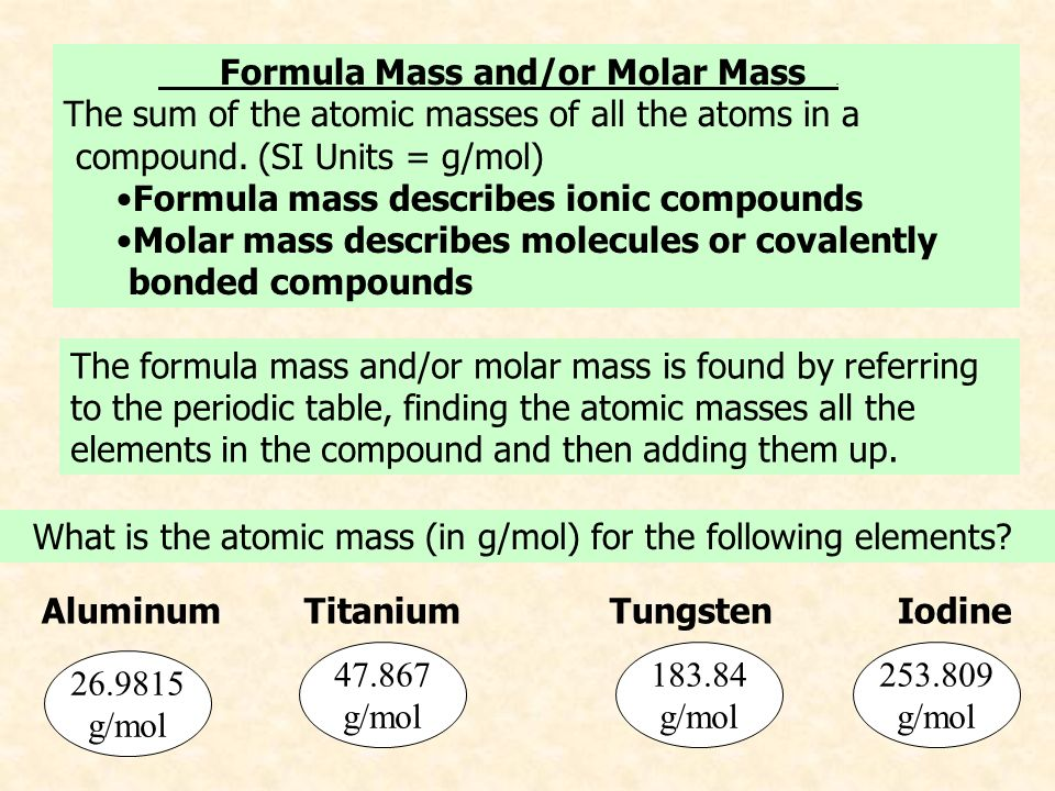 The mole the mole the number of atoms of any element that is equal formula mass andor molar mass urtaz Choice Image