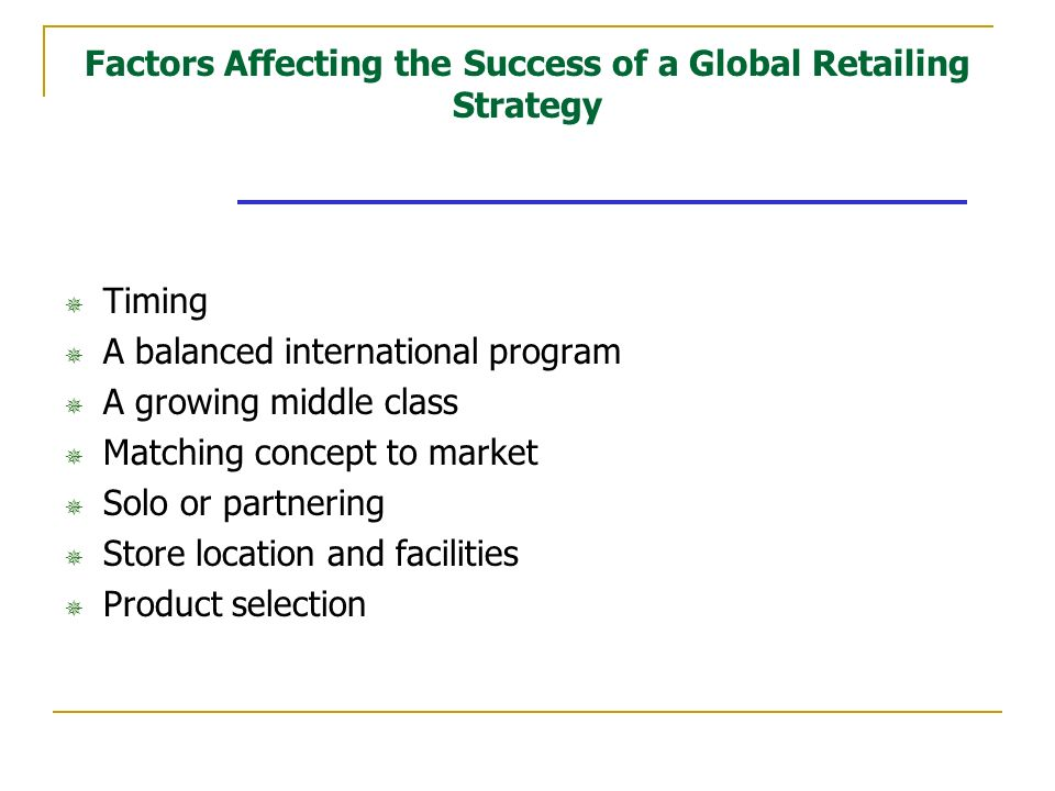 factors affecting the success of a global retailing strategy Identification of performance measurement factors affecting business intelligence success in retailing:  director, school of amity global business school,.