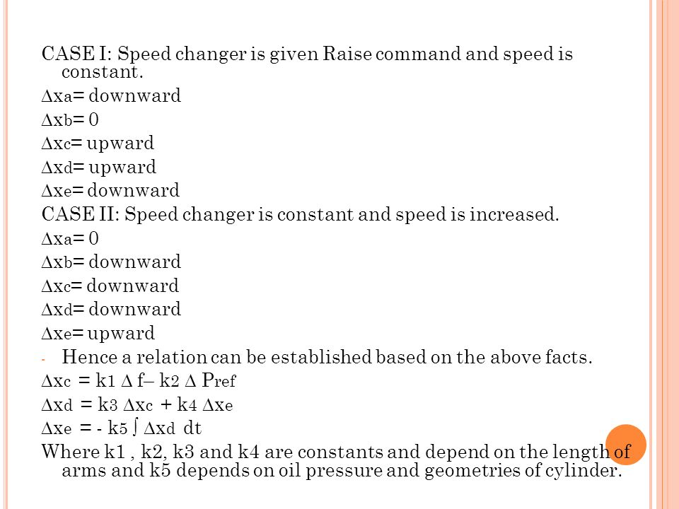 CASE I: Speed changer is given Raise command and speed is constant.
