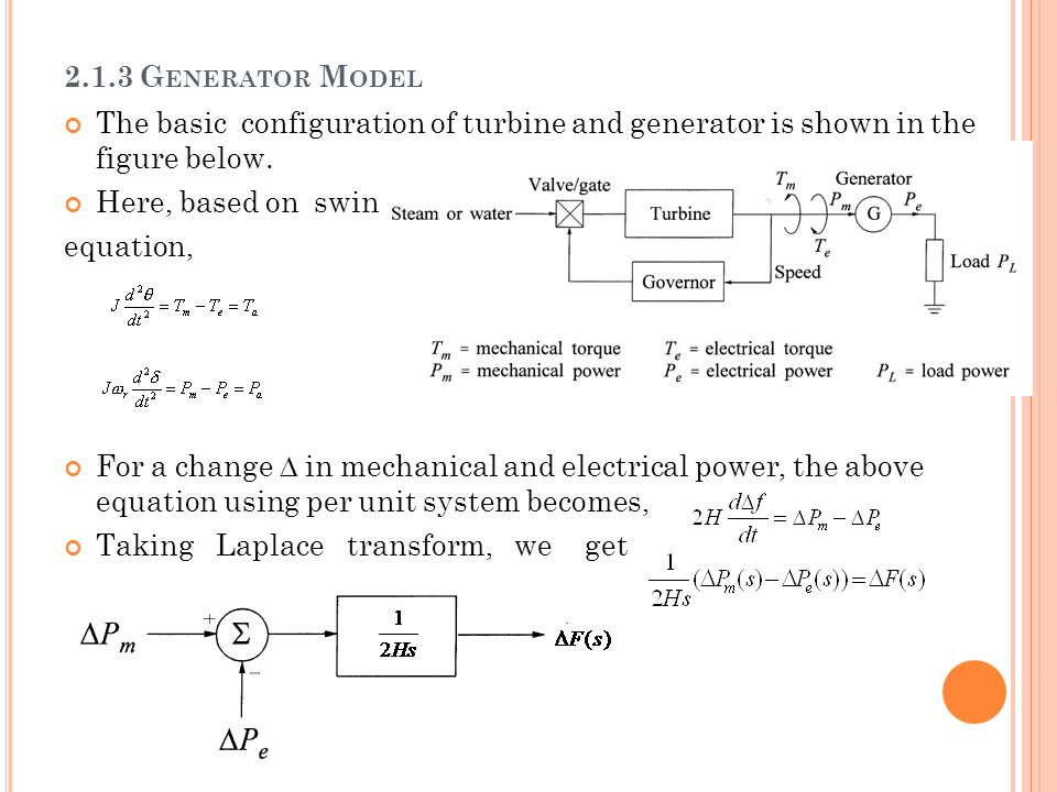 2.1.3 Generator Model The basic configuration of turbine and generator is shown in the figure below.