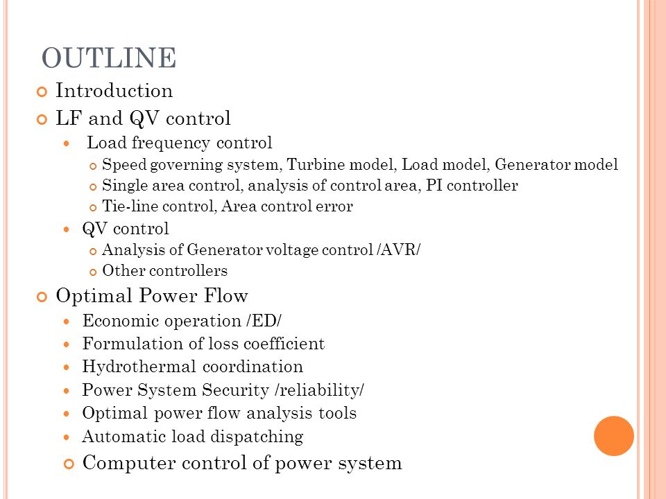OUTLINE Introduction LF and QV control Optimal Power Flow