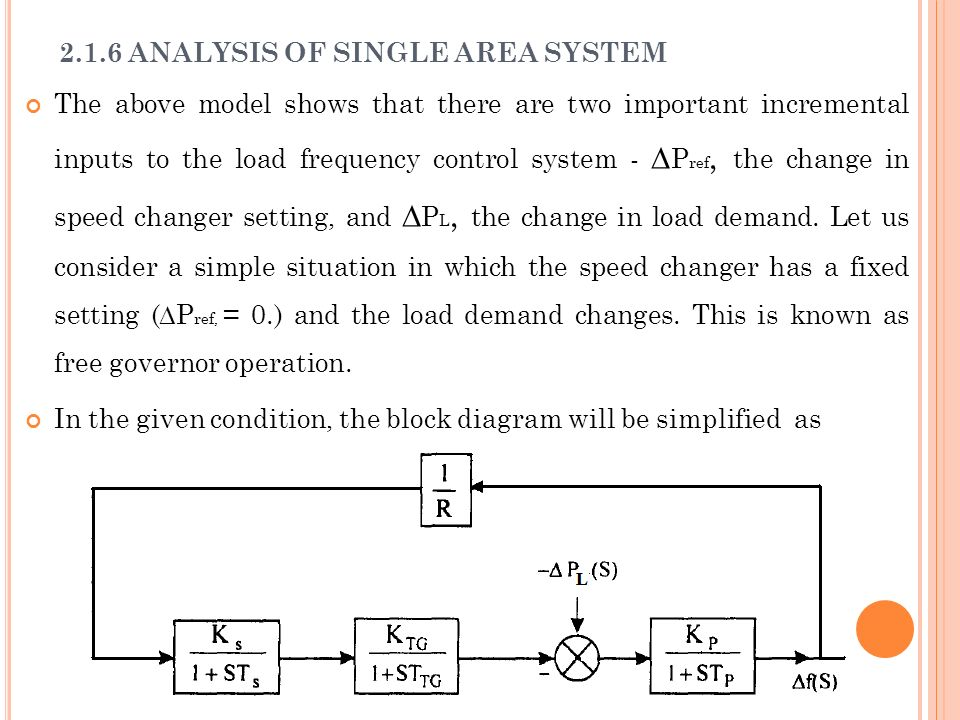 2.1.6 ANALYSIS OF SINGLE AREA SYSTEM