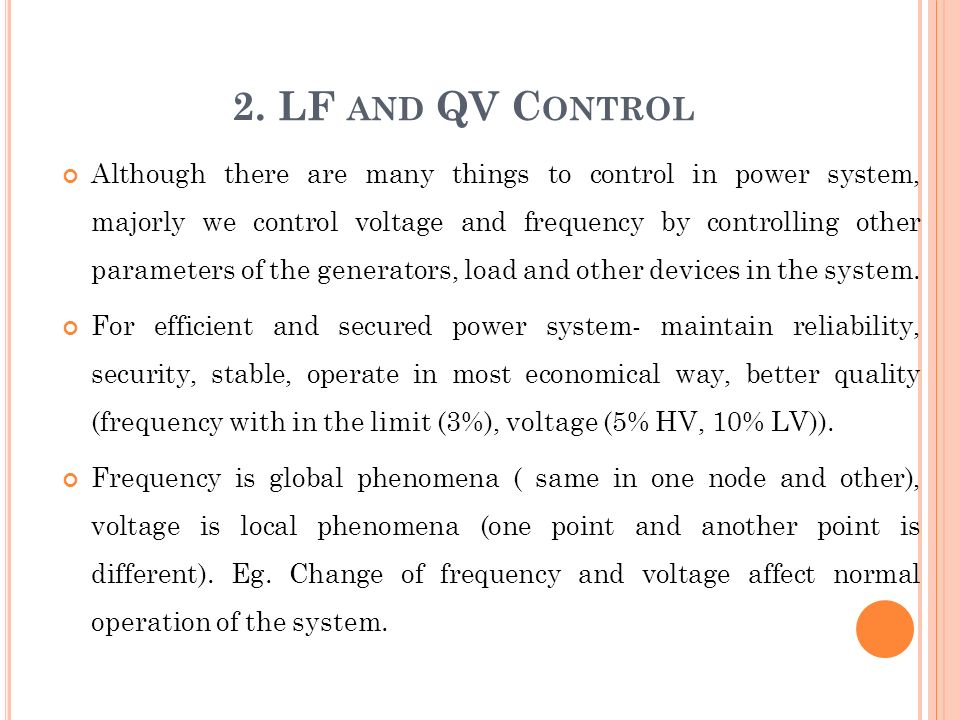 2. LF and QV Control