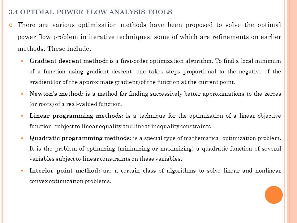 3.4 OPTIMAL POWER FLOW ANALYSIS TOOLS