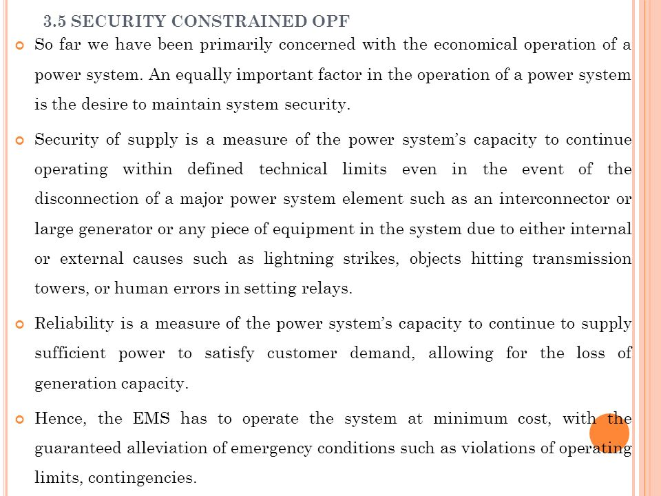 3.5 SECURITY CONSTRAINED OPF