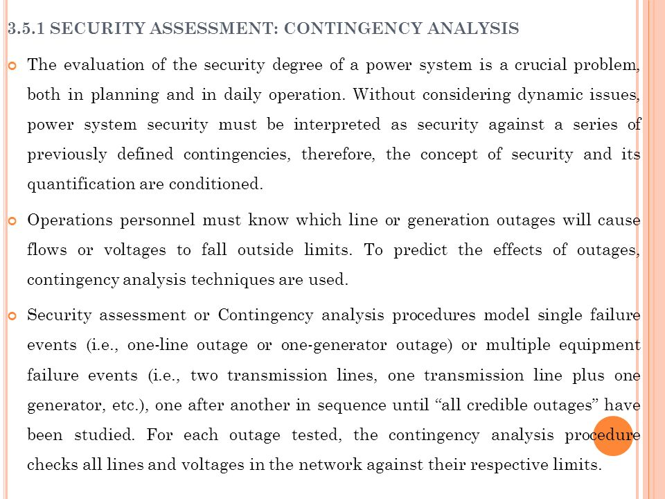 3.5.1 SECURITY ASSESSMENT: CONTINGENCY ANALYSIS