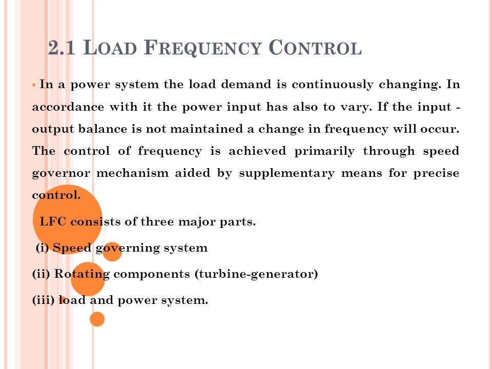 2.1 Load Frequency Control