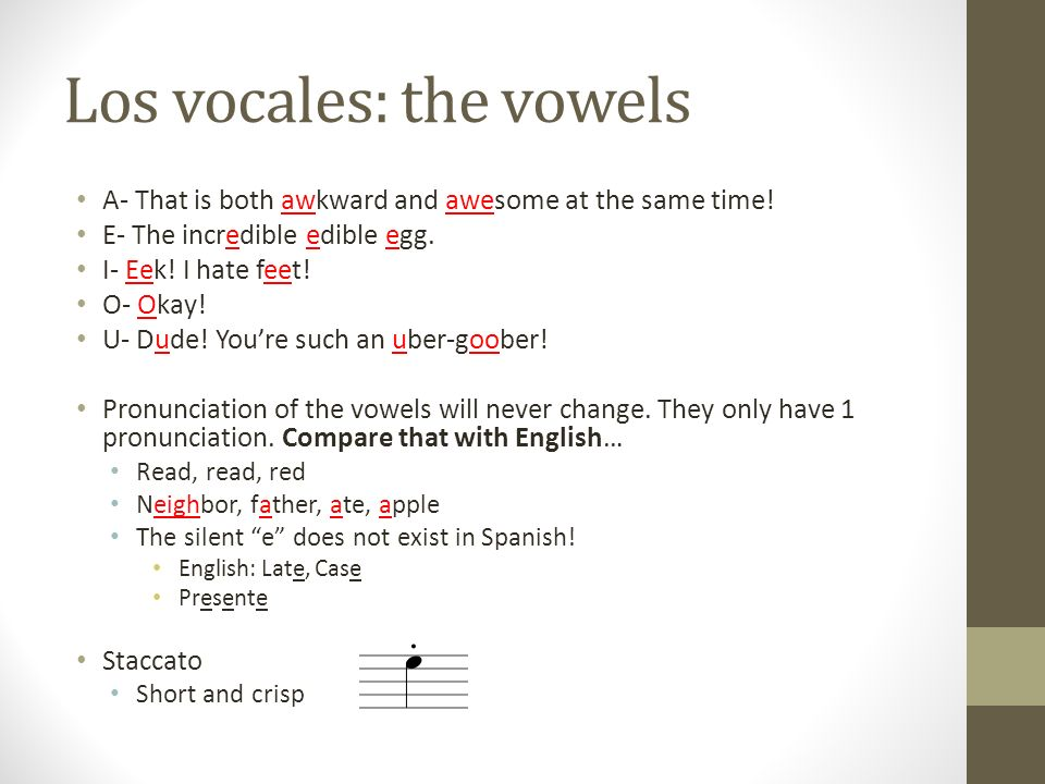 Los vocales: the vowels