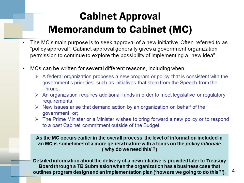 Memorandum to Cabinet and Treasury Board Submission – Why they are ...
