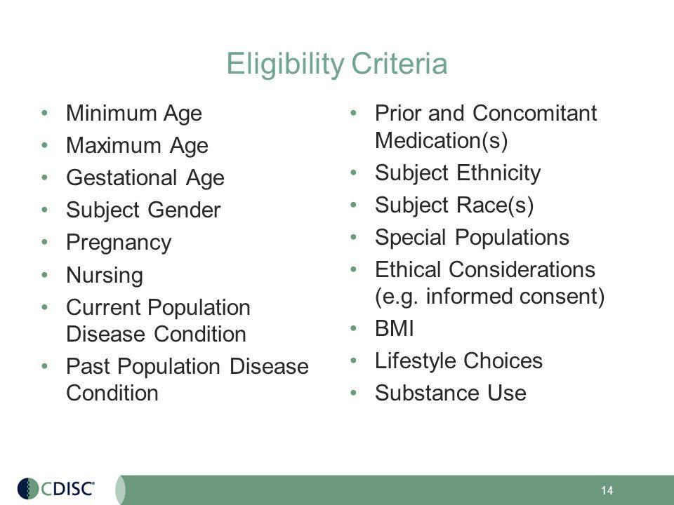 Gestational age dating criteria