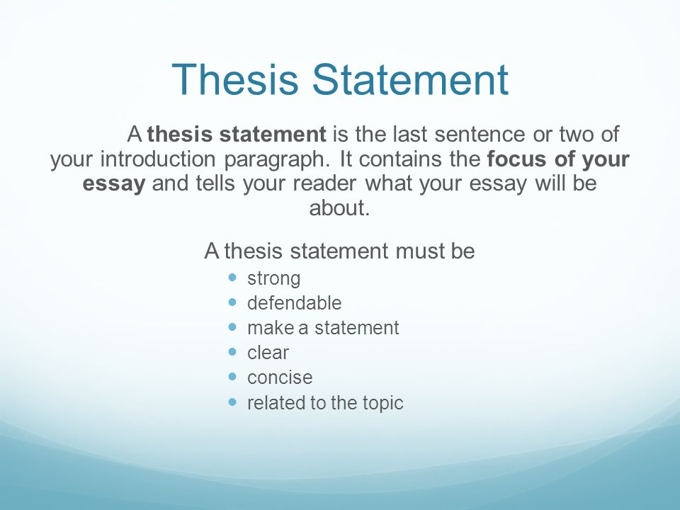 Must begin with an introductory paragraph that has a succinct thesis statement.
