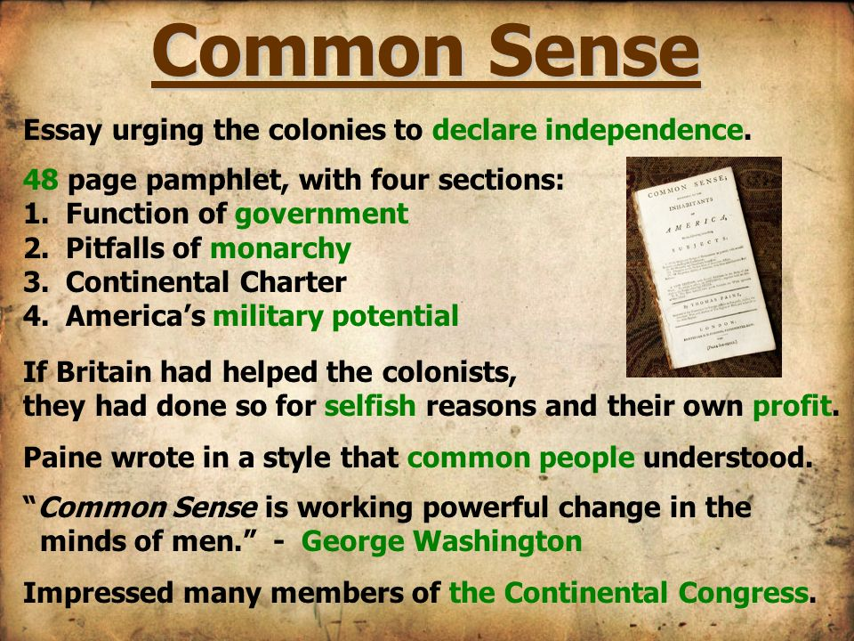 Common Sense fo Independence